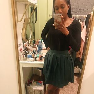 ASOS Green Pleated Faux Leather Mini Skirt